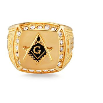 Liumo Vintage Crystal Masonic Gold Color Ring For Men
