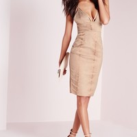 Missguided - Harness Strap Bodycon Snake Jacquard Dress Taupe