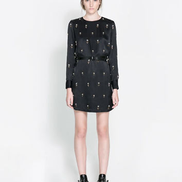 EMBROIDERED SATIN DRESS - Dresses - Woman | ZARA Canada