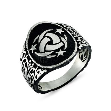 Crescents with stars black coated ground 925k sterling silver mens ring