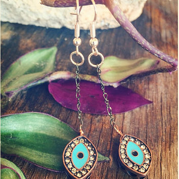 Turquoise Egyptian Aztec Evil Eye Earrings // Unique Vintage Brass Chain + Copper Wire // Boho Hippie Tribal Handmade Mixed Metal Jewelry