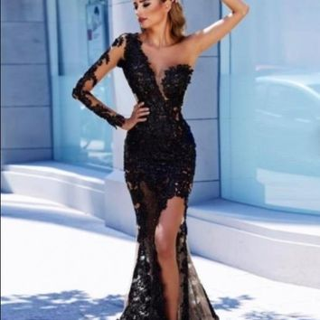 Evening Dresses Black Prom Dresses One Sleeve Slit Appliques
