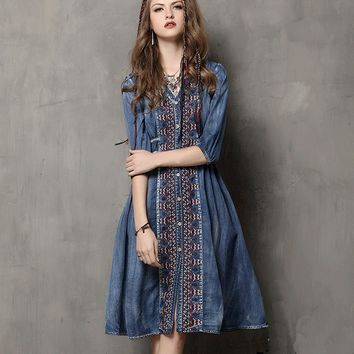 Vintage Embroidery Bohemian Denim Dress
