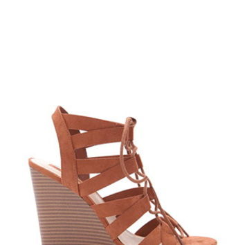 Lace-Up Faux Suede Wedges