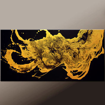Abstract Canvas Art Painting - 48x24 Contemporary Original Gold Art by Destiny Womack - dWo -  Enlightened II