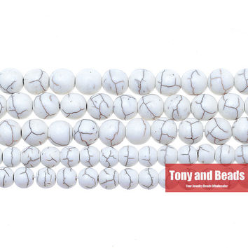 """Free Shipping White Turquesa Round Loose Beads 15"""" Strand 4 6 8 10 12 MM Pick Size For Jewelry Making No.TB2"""