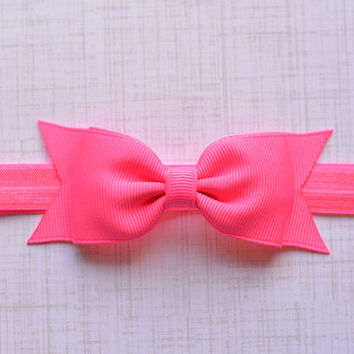 Neon PInk Bow Headband. Neon Pink Hair Bow Headband. Black Baby Headband. Baby Hair Accessories. Girls Hair Accessories. Hot Pink. Neon Pink