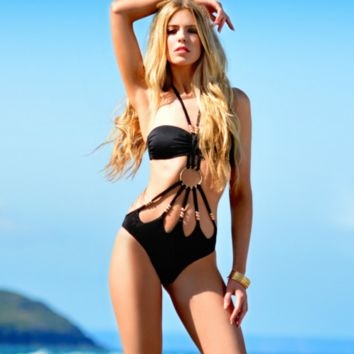 Black One Piece Swimsuit Gold Beads