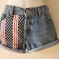 Levis Cutoff Shorts Stars and Stripes Material Panel American Flag High Waisted