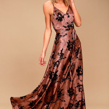 Tea Gardens Rusty Rose Floral Print Satin Maxi Dress