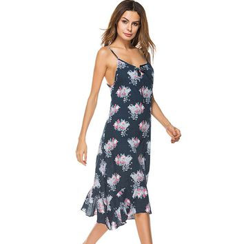 Summer Fashion Loose Over Knee-length Floral Printed Women Dress