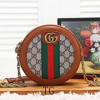 GUCCI New Women Fashion Stripe More Letter Leather Chain Shoulder Bag Crossbody Satchel Brown