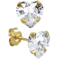 14K Yellow Gold 1.25ct Cubic Zirconia Heart Stud Earrings | Body Candy Body Jewelry