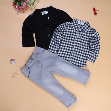 3 Piece Clothes Plaid And Black Long Sleeve Shirt & Jeans