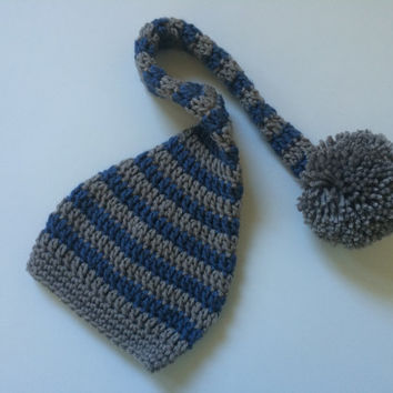 Gray & Blue Elf Hat - Photography Prop with Extra Long Tail and Pompom