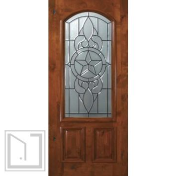 Slab Front Single Door 80 Wood Alder Brazos 2 Panel Arch Lite Glass