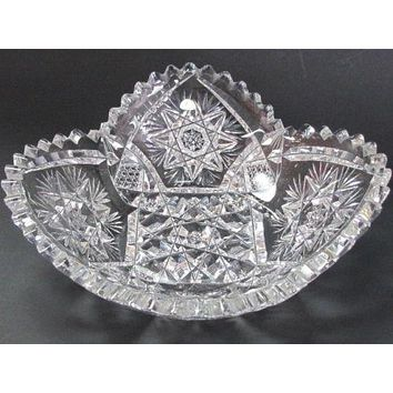 American Brilliant Period Hand Cut Antique Crystal  dish
