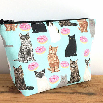 Cat Makeup Bag - Gift for Cat Lovers - Small Makeup Bag - Small Cat Pouch - Gift for Her - Cat Lady - Donuts