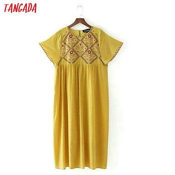 Tangada vintage floral embroidery yellow dress tassel boho style short sleeve O neck casual knee length sundress vestidosCC04