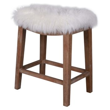 Elmo Faux Fur Counter Stool, Freesia White