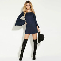 Blue Flare Sleeve Mini Sheath Dress