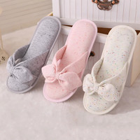 2016 spring and summer minimalist Japanese cloth cute ice cream color, bows, women slippers, home floor slippers, free shipping