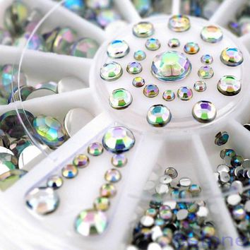 Nail Decoration Rhinestone 5 Sizes Silver Multicolor Acrylic Nail Art Decoration Glitter Rhinestones Stickers