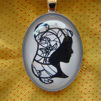 Belle and the Enchanted Rose from Beauty and the Beast  Large Silhouette Cameo Pendant Necklace