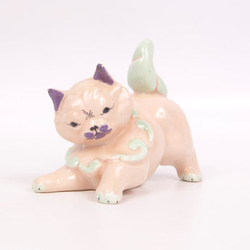 Vintage Kay Finch California Art Pottery Cat Kitten Figurine Pastel Porcelain Hand Painted Very Detailed Soft Colors