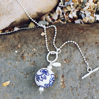Fuzen Silver and Porcelain Necklace in Navy Flower