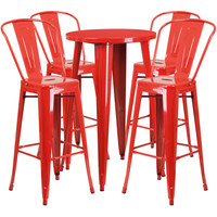 24'' Round Metal Indoor-Outdoor Bar Table Set with 4 Cafe Barstools