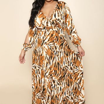 Abstract Wrap Style Plus Size Maxi Dress