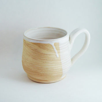 12 oz ounce Unique Coffee Mug Tea Cup, Tan & White Wood Grain pattern, Wheel Thrown Pottery ceramic stoneware