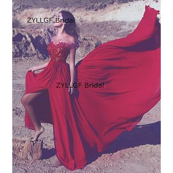 ZYLLGF Bridal Sheath Sweetheart Long Chiffon Vestido Noite Off Shoulder Appliques Beaded Side Slit Prom Gown Formal Dress SA376