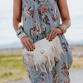 Leather Fringed Concho Clutch - Ivory