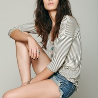 Free People Retro Stripe Three Quarter Sleeve Top