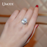 UMODE Brand Wedding Rings For Women White Gold Color Big 4 Carat Pear Cut Cubic Zirconia Micro CZ Halo Engagement Rings UR0145B