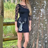 Black sexy lace deer dress