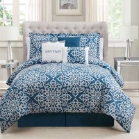 7 Piece King Fantasy Teal/White Comforter Set