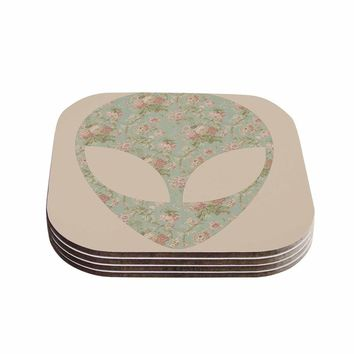 Alias 'Floral Alien' Pink Teal Coasters (Set of 4)   Overstock.com Shopping - The Best Deals on Coasters