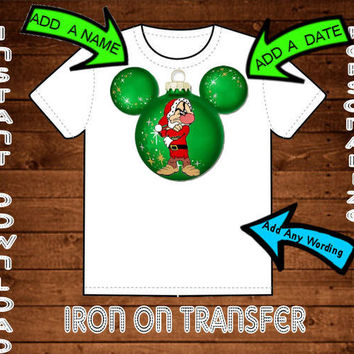 Snow Whites Grumpy Christmas Mickey Mouse Head Ornament Disney Printable Digital Iron On Transfer Clip Art DIY Tshirts Can Be Personalized