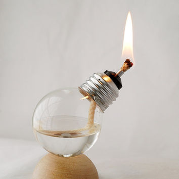Mini Recycled Light Bulb Oil Lamp on Natural Wood Half Dome Base (12-001)