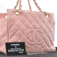 Authentic CHANEL Caviar Skin CC Logo Chain Shoulder Bag Pink CC 44021