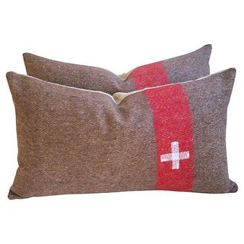 Pre-owned Swiss Army Wool & Linen Blanket Pillows - A Pair
