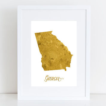 Georgia map - USA  Printable art , Instant download