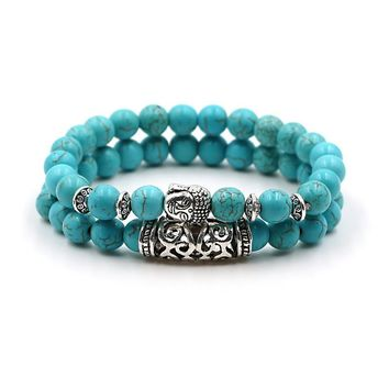 2 pcs/set Antique Silver Buddha Head Charm Bracelets Lava Onyx Turquoises Natural Stone Beads Bracelets For Men Women Jewelry