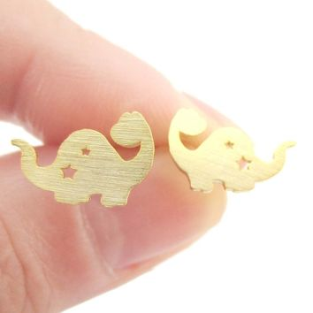 The Good Dinosaur Apatosaurus with Star Cut Outs Shaped Stud Earrings in Gold | Allergy Free