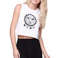 LA Hearts Solar Empire Crop Muscle T-Shirt - Womens Tee - White -