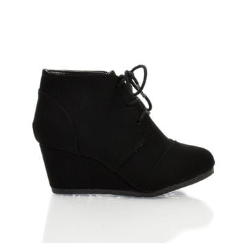 RexIIS Black By Happy Soda, Children / Girl Shoe Almond Toe Lace Up Oxford Wedge Heel Ankle Bootie