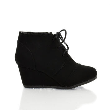 RexIIS Black Children / Girl Shoe Almond Toe Lace Up Oxford Wedge Heel Ankle Bootie